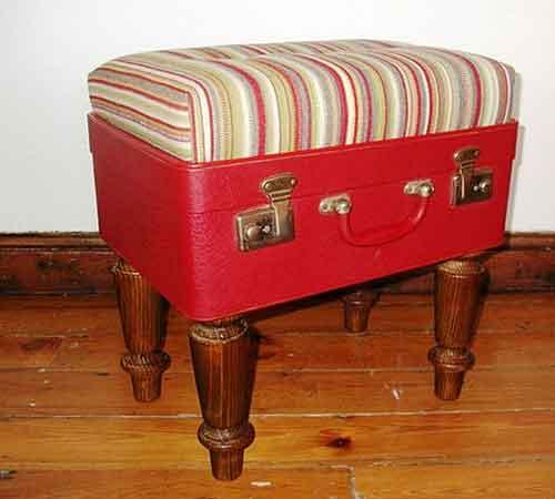 старый чемодан переделка в новый пуф