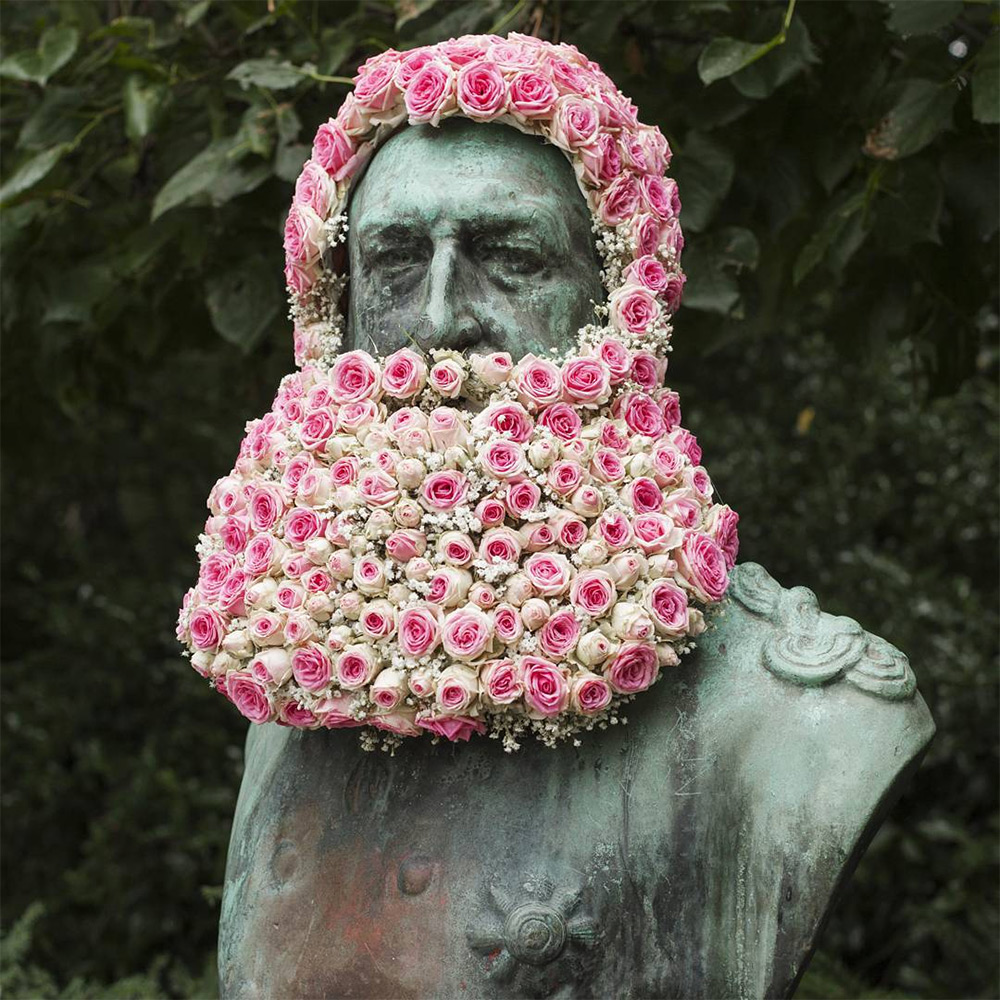 Florist Geoffroy Mottart Installs Guerilla Flower Crowns and Beards atop Public Monuments in Brussels (10 pics)