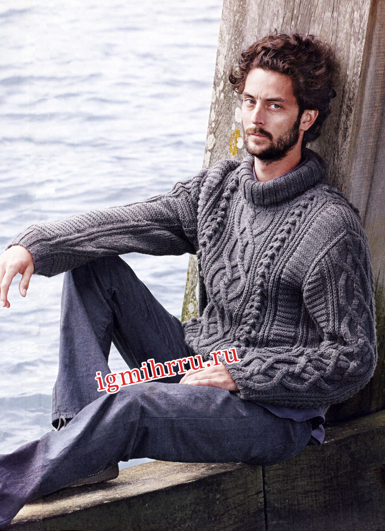 Мужской серый свитер с миксом узоров. Вязание спицами