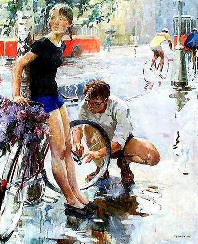 Цветков Виктор Александрович «Велосипедная прогулка» 1965