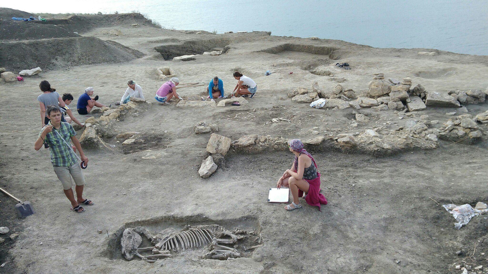 Рядом с головой скелета обнаружили лепной сосуд, мелкие бусины и пастовое стекло, а на его правой ру