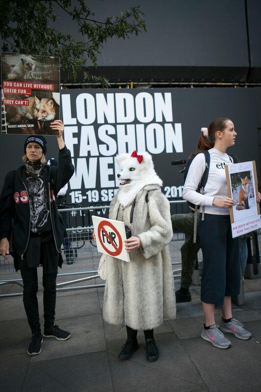 LONDON, ENGLAND - September 15, 2017Anti fur protest during the London Fashion Week. outside Eudon Choi
