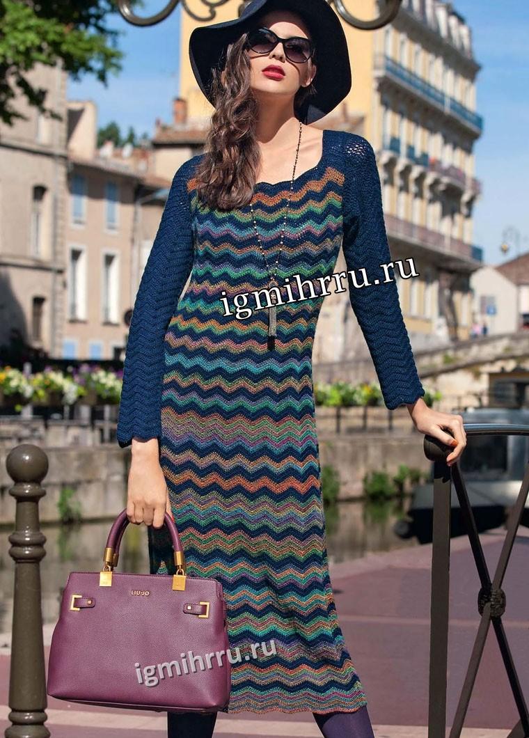 В стиле Миссони. Платье с зигзагообразным узором. Вязание крючком