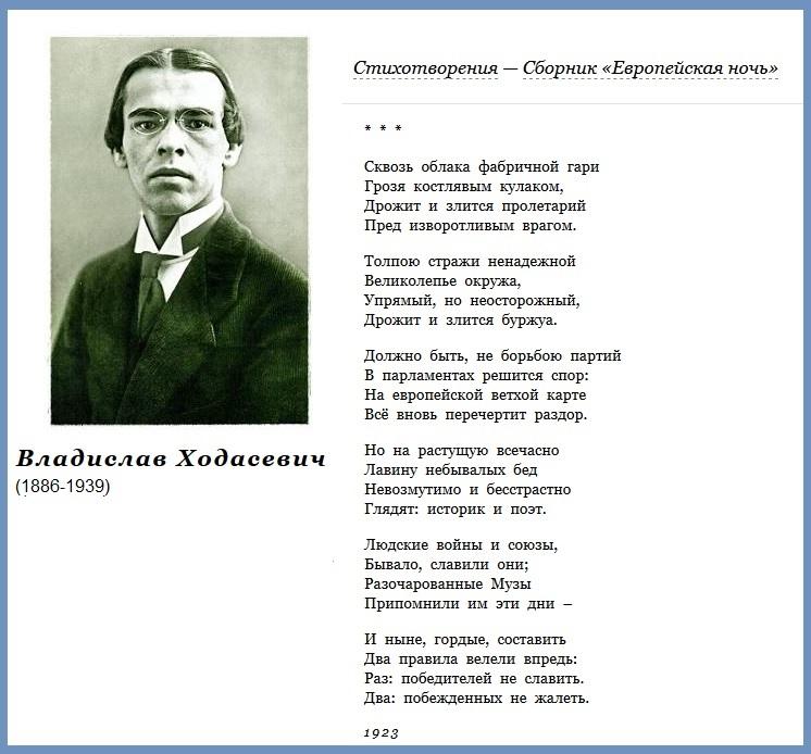 Ходасевич Владислав(1886-1939) Сквозь облака фабричной гари