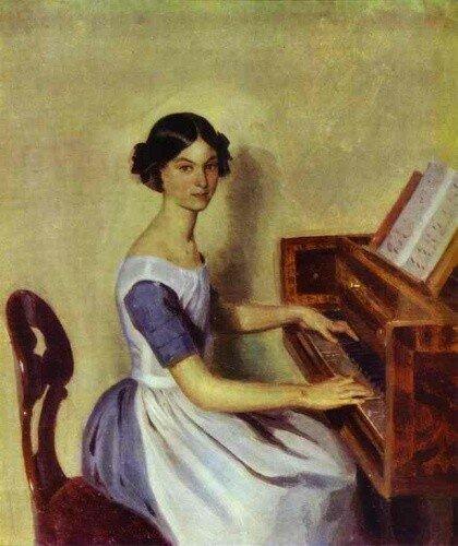 Подборка картин  «Леди у пианино (рояля)»
