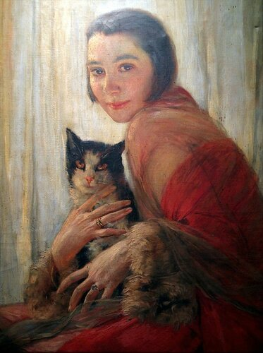 Robert Auer - Girl with Cat