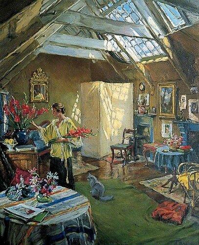 Alexander Akerbladh - Lady Arranging Flowers