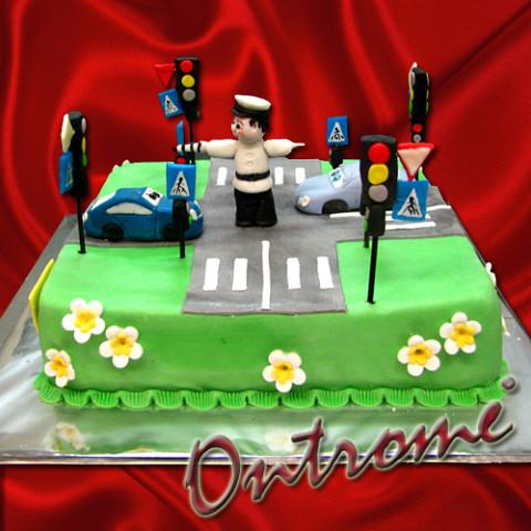 Открытка на День патрульно-постовой службы. Торт