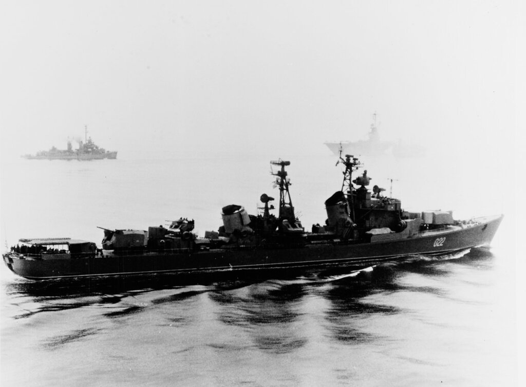BESSLEDNYI (Soviet Kotlin class destroyer) Observing refueling operations between USS HORNET (CVS-12) and USS TALUGA (AO-62) in the Sea of Japan, 9 May 1967. USS WALKER (DD-517) is in right background.