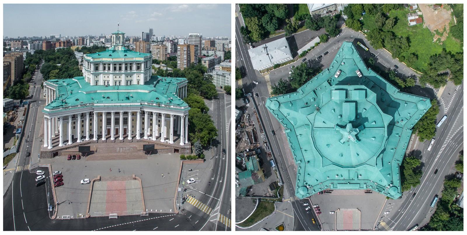 Театр, построенный по проекту Каро Алабяном и Василием Симбирцевым в 1934-1940 годах, имеет вид пяти