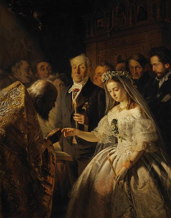 В любом случае, в этом варианте, лицо невесты, как и положено по старым русским традициям, печально,