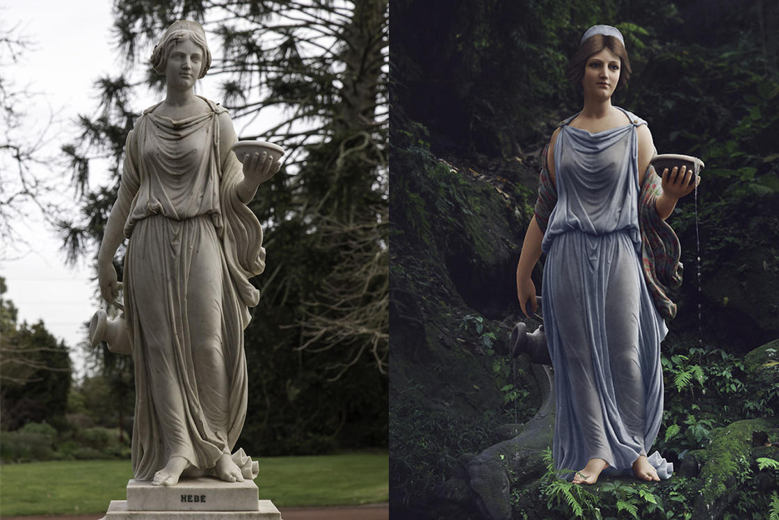 She brings back to life statues from the 19th century by colorizing them