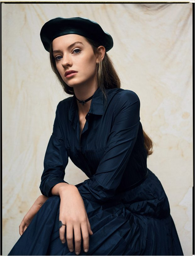 dress, beret, necklace and ring: DIOR