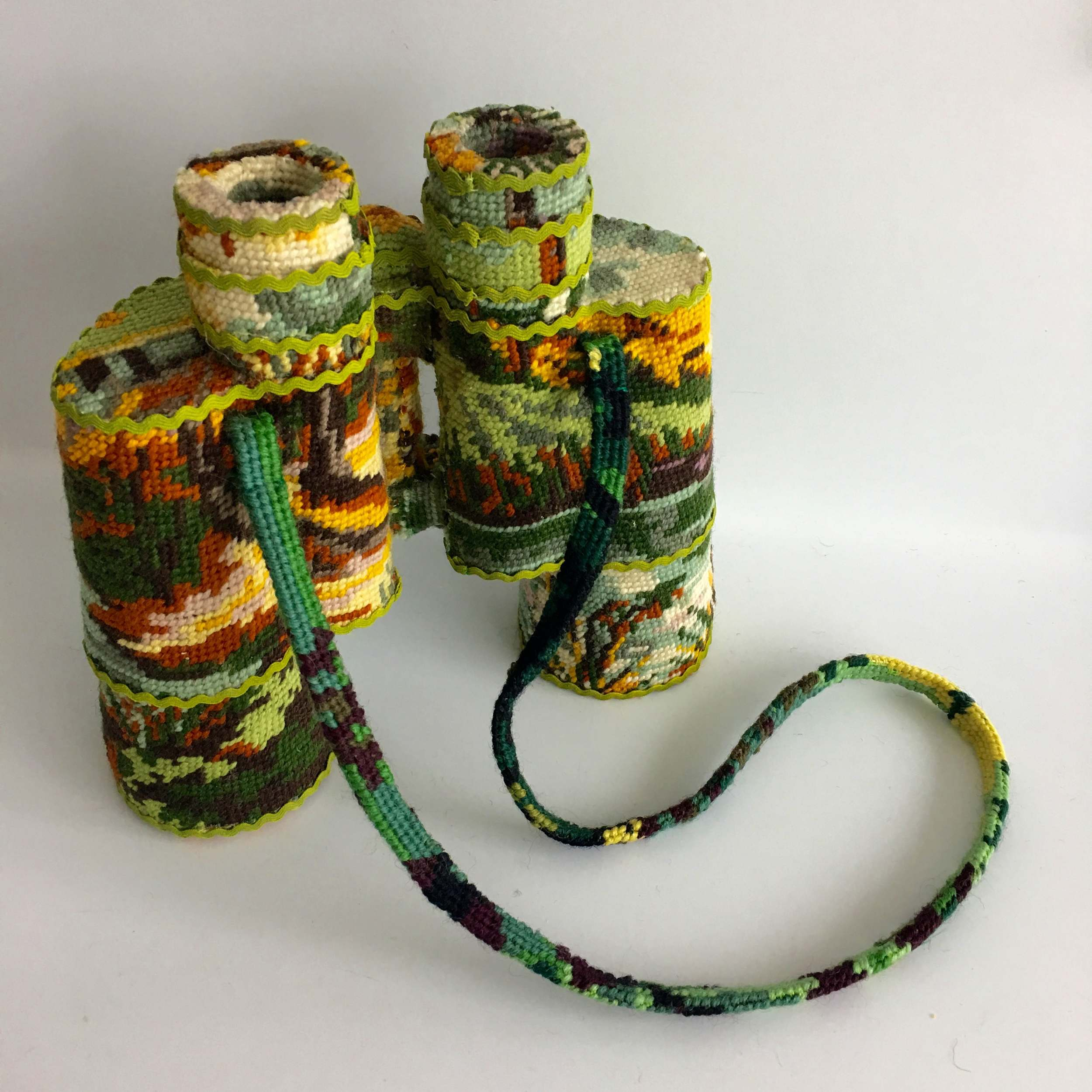 New Domestic Objects Wrapped in Needlepoint Scenes by Ulla Stina Wikander