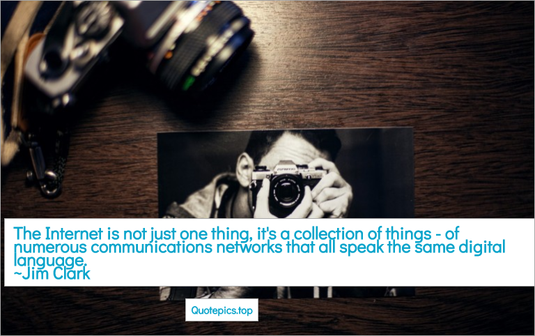 The Internet is not just one thing, it's a collection of things - of numerous communications networks that all speak the same digital language. ~Jim Clark