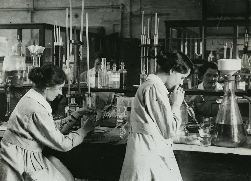 British women working in chemical laboratory near Manchester