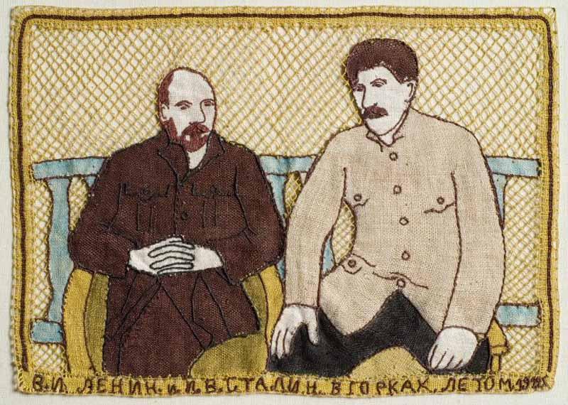 Коврик кружевной В.И. Ленин и И.В. Сталин в Горках летом 1922 800.jpg