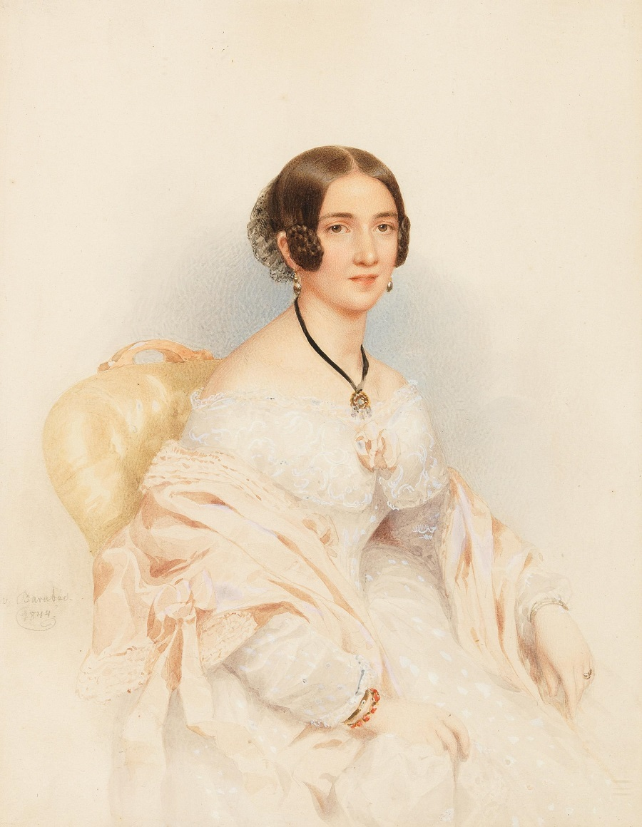 A portrait of a young lady in a white dress , 1844.Jpeg