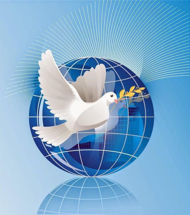 21 сентября — Международный день мира. Голубь с ветвью на фоне земного шара