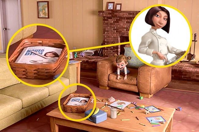© Walt Disney  Когда малышка Райли играет вкомнате, настолике можно увидеть журнал, наоблож