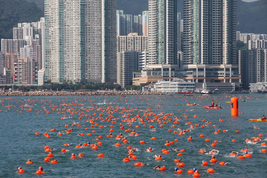 Скопление ночесветок, которые обладают способностью к биолюминесценции, у побережья в Гонконге, 22 я