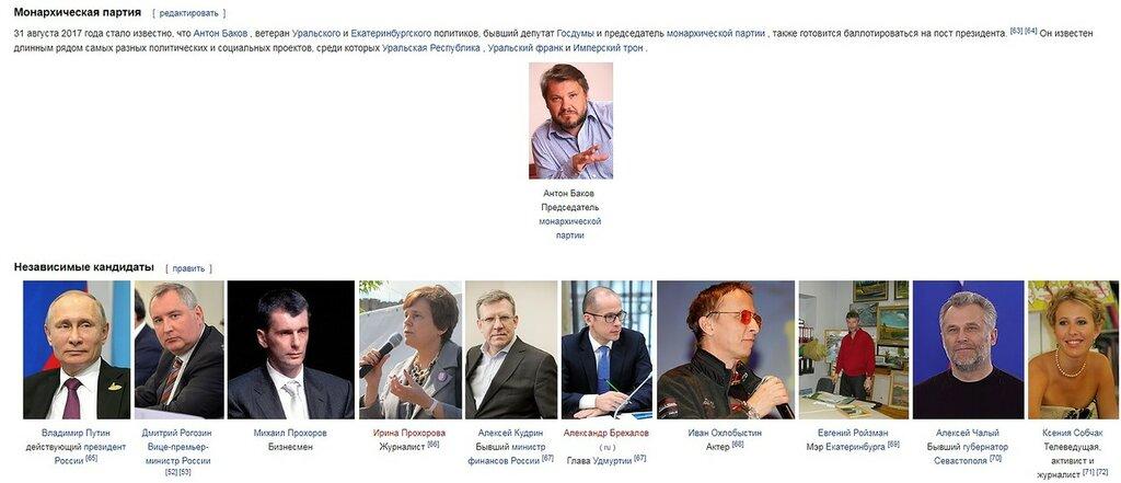 Кандидаты в Президенты РФ из Вики меняются