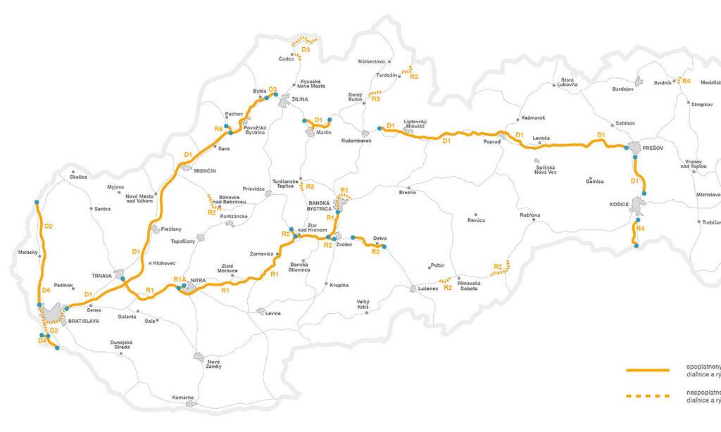 Схема платных дорог Словакии