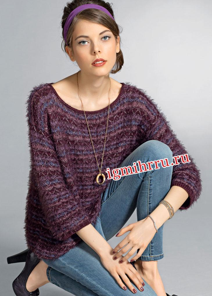 Просторный пуловер с сочетанием разных видов пряжи. Вязание спицами