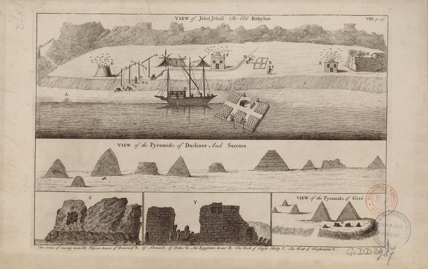 Вид Джебель-Баркала, старого Вавилона; Вид на пирамиды Дахшура и Саккары; Вид на пирамиды Гизы