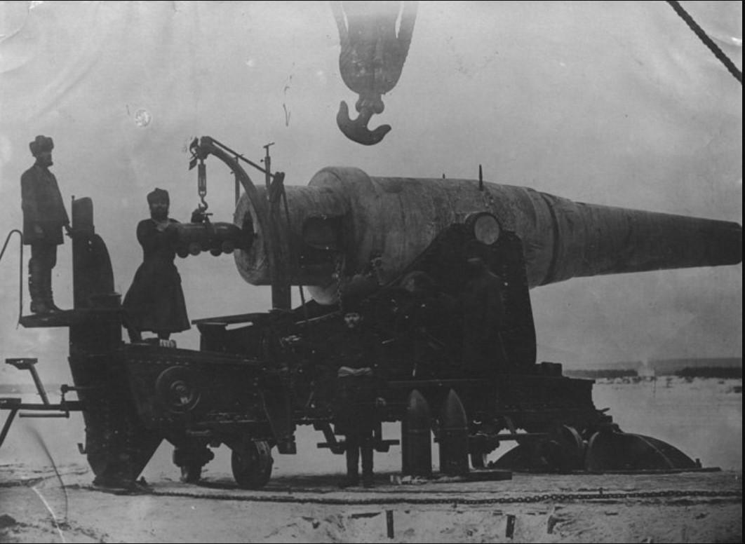 Испытание 11-дюймовой береговой пушки в Мотовилихе. Зима 1877-78