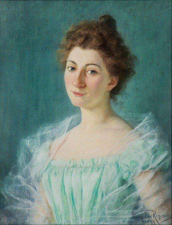 Mieczysław Reyzner (1861-1941).Portret lwowianki, Marii z Cicimirskich Bednarskiej
