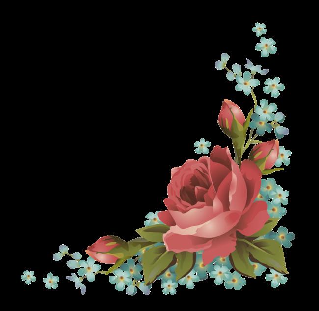 Угловые цветы на открытку, ерко
