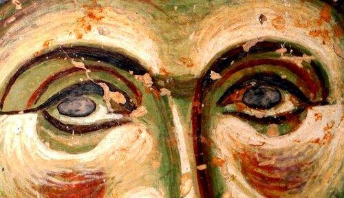 Святой Преподобный Евфросин Палестинский, повар. Фреска церкви Св. Георгия в Курбиново, Македония. 1191 год.