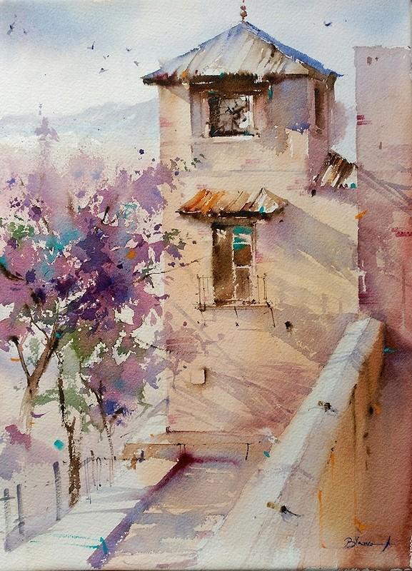 Испанские дворики / художник Blanca Maria Alvarez Sanchez