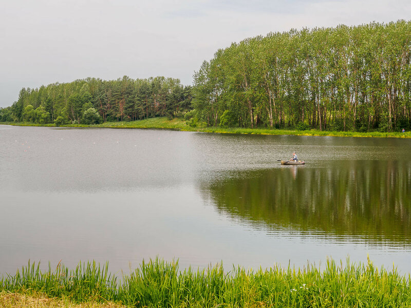 Запруда на реке Оксне в Сморгони.