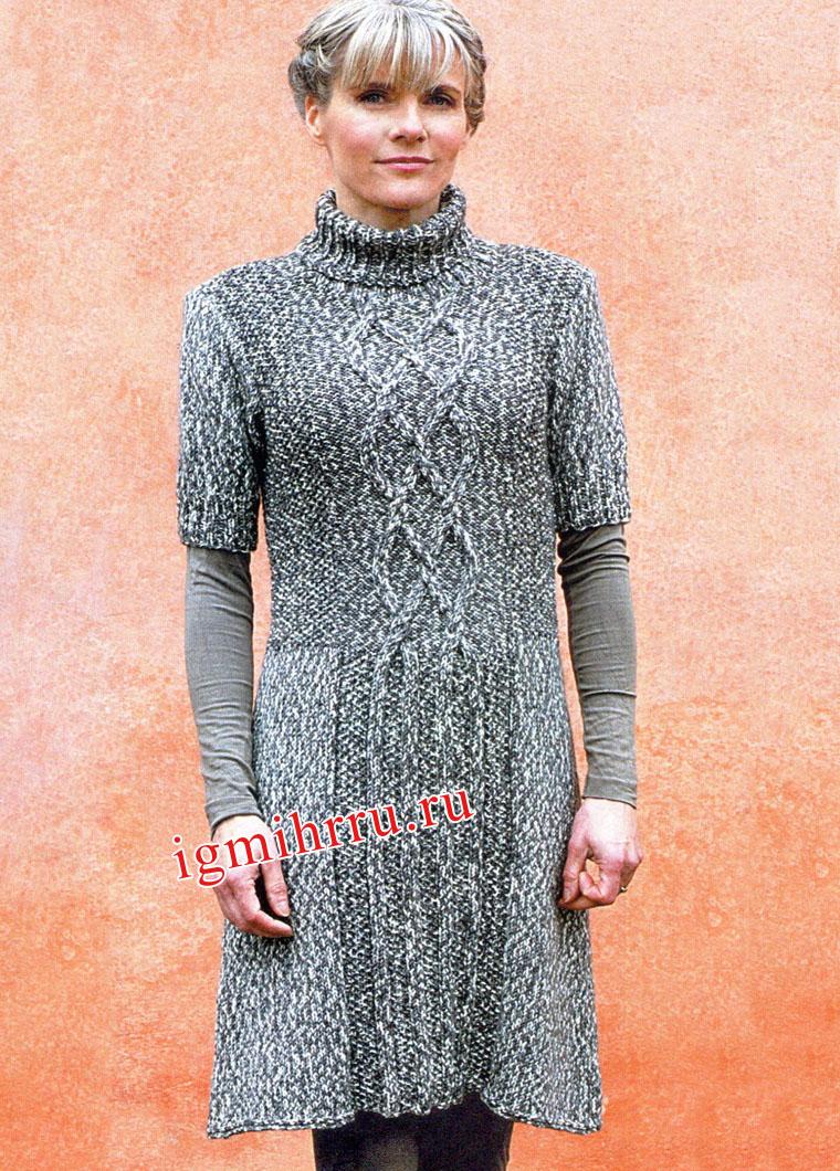 Шерстяное меланжевое платье в серых тонах, с косами и путанкой. Вязание спицами