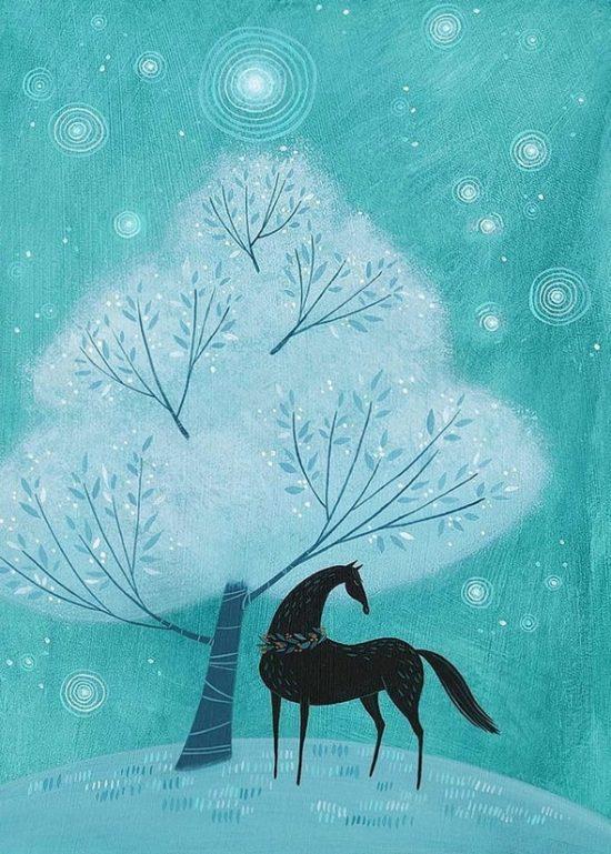 Трейси Гримвуд. Синий конь в сказочном лесу.
