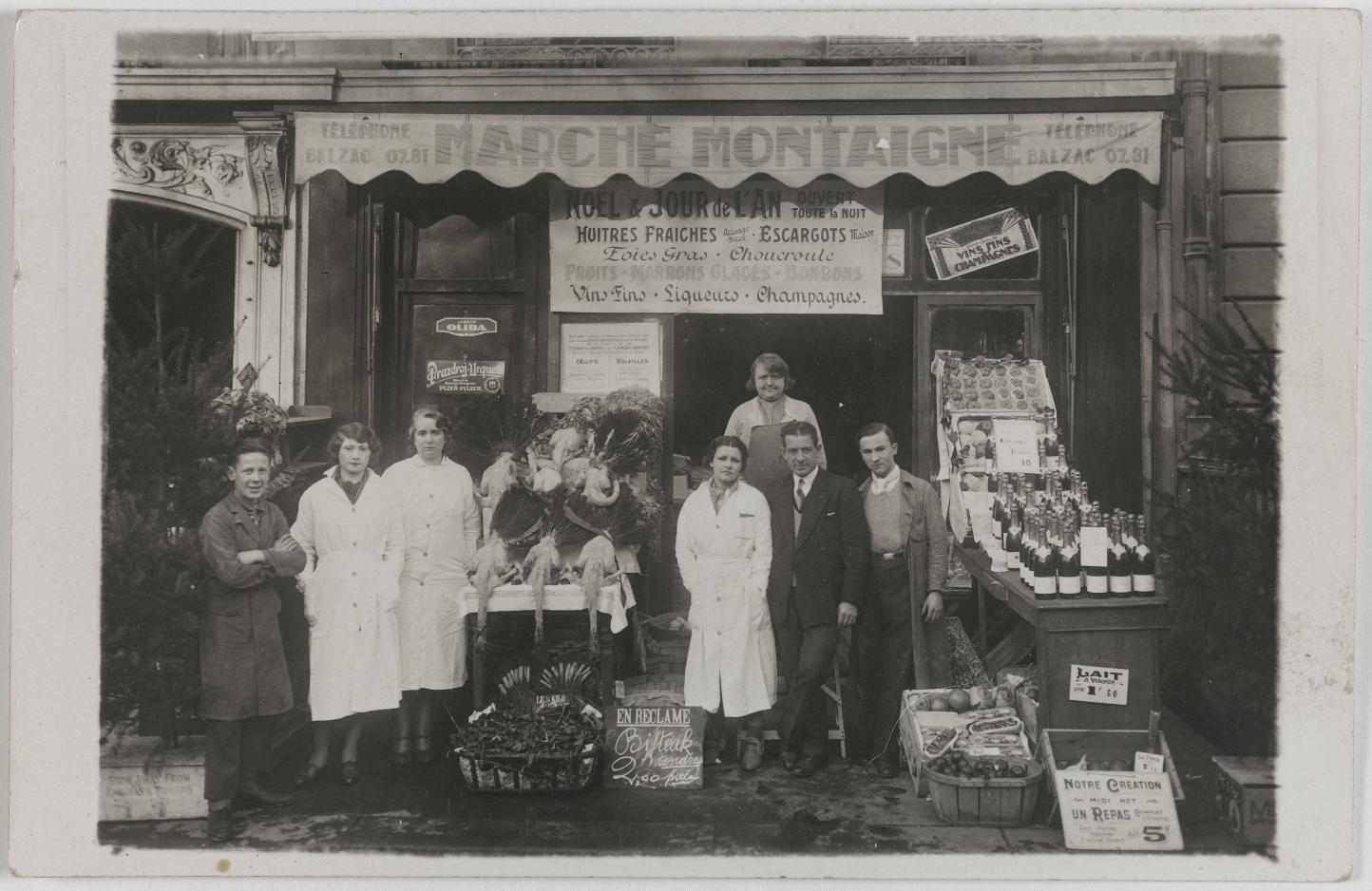 1920-1925.  Продукты и алкоголь. Монтень маркет (8-й округ). Сейчас магазин одежды