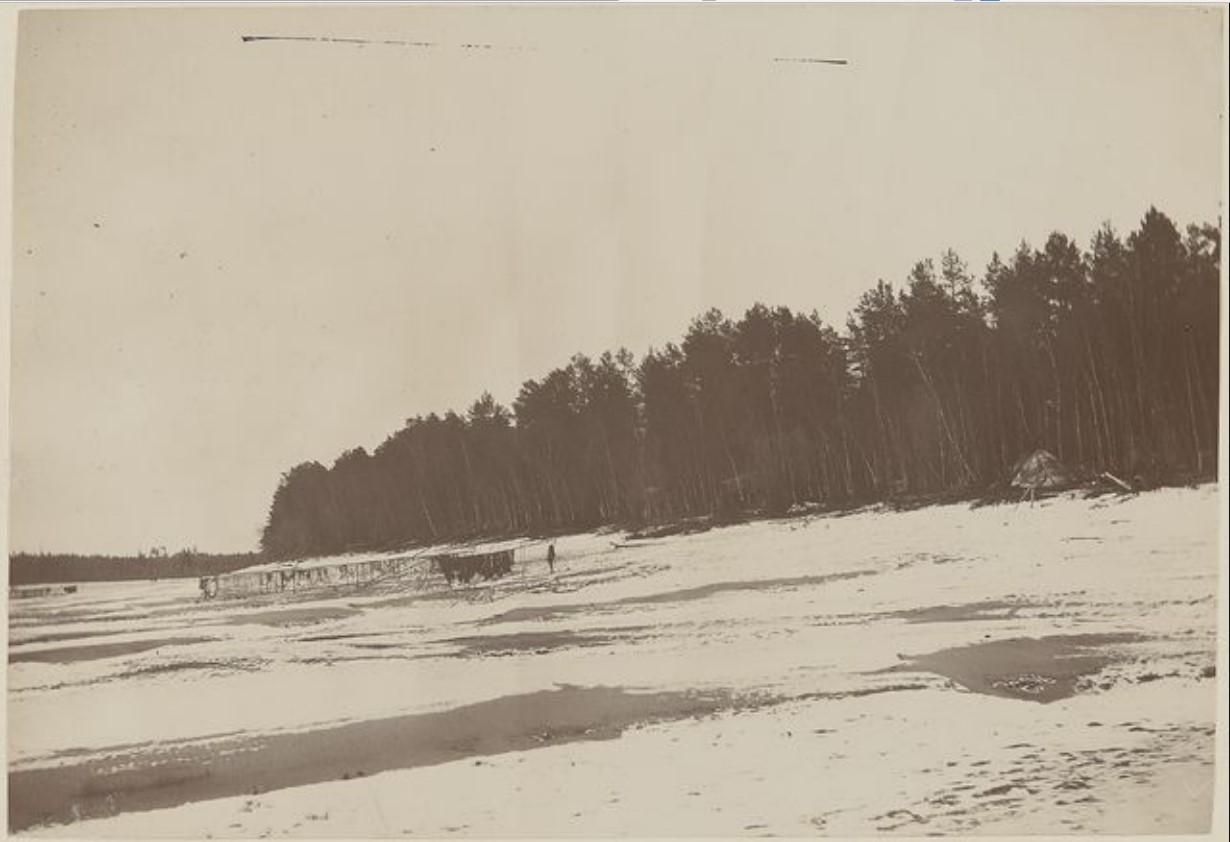 Деревенские дома на границе леса на реке Вах
