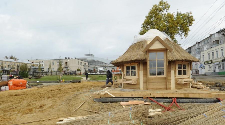 В новом калужском парке появилась русская изба