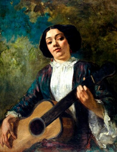 Thomas Couture (French, 1815-1879) La Guitariste (A Portrait of George Sand)
