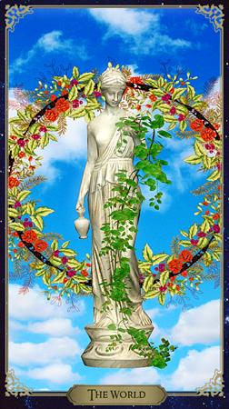 Карта Таро Мир означает успешное завершение чего-либо (достижение последней ступени), успех (в том числе материальный), обретение высшего знания, достижение гармонии с миром. Карта Мир - символ успеха, исполнения желаний, достижения конечной цели, проекты на будущее, серия хороших событий, которые принесут свои плоды. Мир Таро может символизировать конец какого-то этапа в жизни и начало нового. Может означать и благосклонность окружающих, и официальное признание, и похвалу, и утверждение в правильности своих действий. Мир - это надежда на будущее.