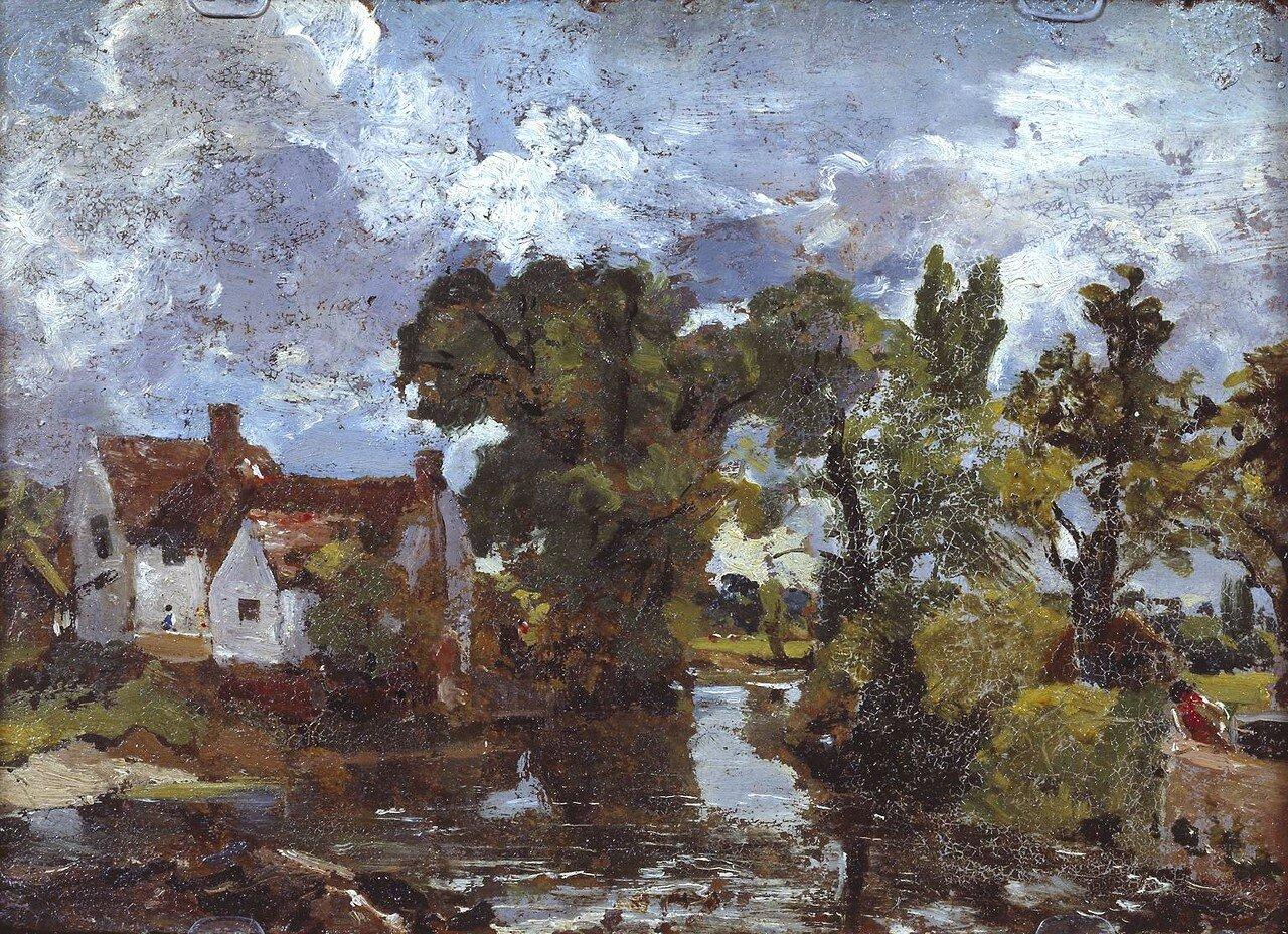 The Mill Stream. Verso: Night Scene with Bridge circa 1810 by John Constable 1776-1837
