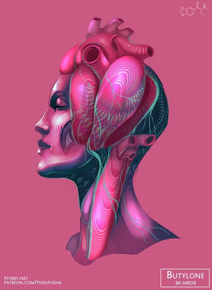 Художник принял 20 разных наркотиков, чтобы продемонстрировать воздействие препаратов на мозг человека (20 фото)