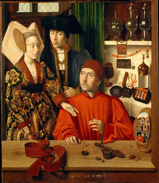 Некоторые считают, что живописец Петрус Кристус скопировал прием Ван Эйка в своем полотне «Святой Эл