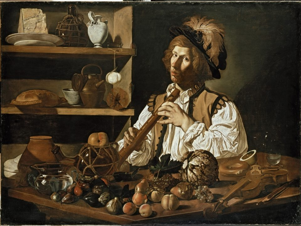 Interior with a young man holding a recorder, 1615-20