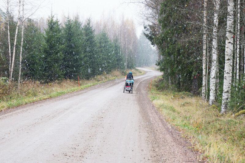первый снег в велопоходе по финляндии