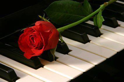 С днем музыки. Роза на фортепьяно