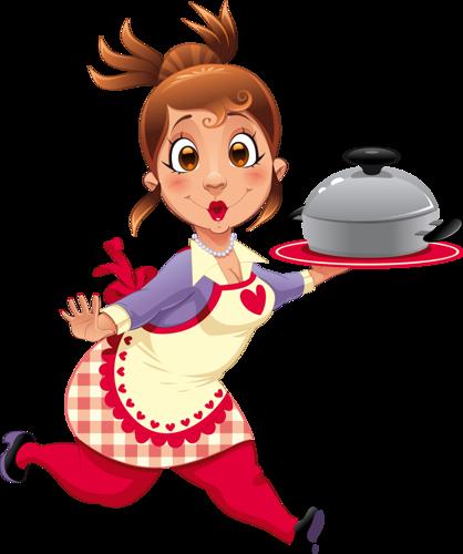 Международный День повара. Повар бежит с готовой пищей