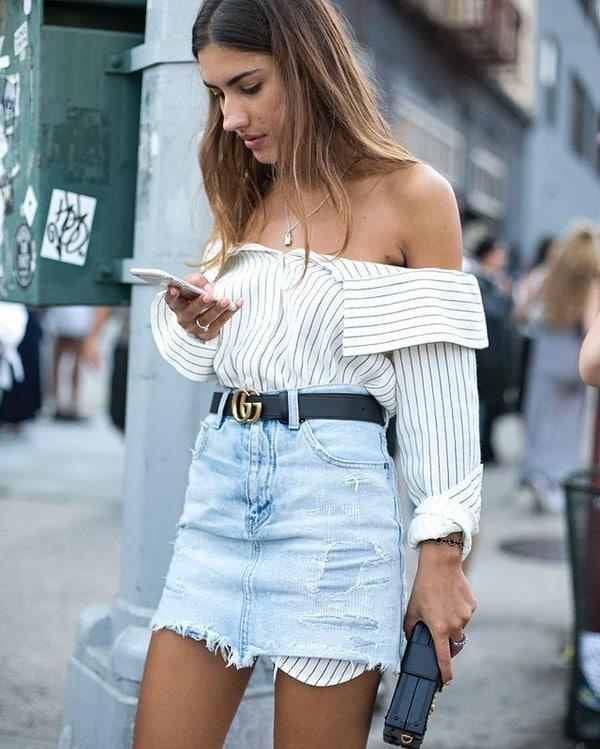 Надеть рубашку навыпуск с джинсами-скинни. В такой интерпретации получит